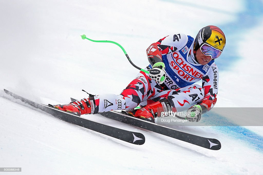 marcel hirscher of austria skis to first place in the men s super g at the 2015