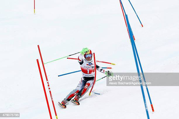 Marcel Hirscher of Austria takes 1st place and wins the overall slalom World Cup globe during the Audi FIS Alpine Ski World Cup Finals Men's Slalom...