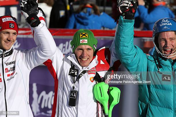 Marcel Hirscher of Austria takes 1st place Benjamin Raich of Austria takes 2nd place Steve Missillier of France takes 3rd place during the Audi FIS...