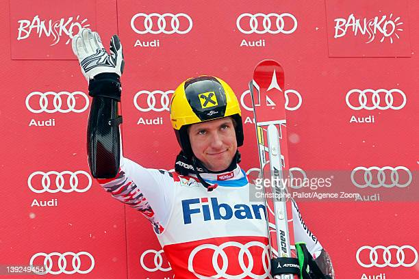 Marcel Hirscher of Austria takes 1st place competes during the Audi FIS Alpine Ski World Cup Men's Giant Slalom on February 18 2012 in Bansko Bulgaria