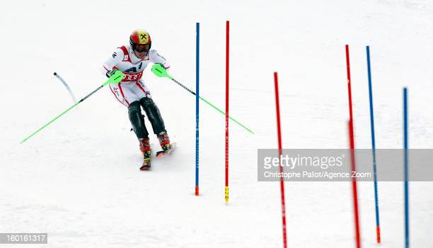 Marcel Hirscher of Austria takes 1st place competes during the Audi FIS Alpine Ski World Cup Men's Slalom on January 27 2013 in Kitzbuehel Austria