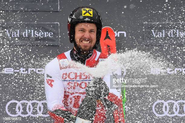 Marcel Hirscher of Austria takes 1st place during the Audi FIS Alpine Ski World Cup Men's Giant Slalom on December 8 2018 in Val d'Isère France