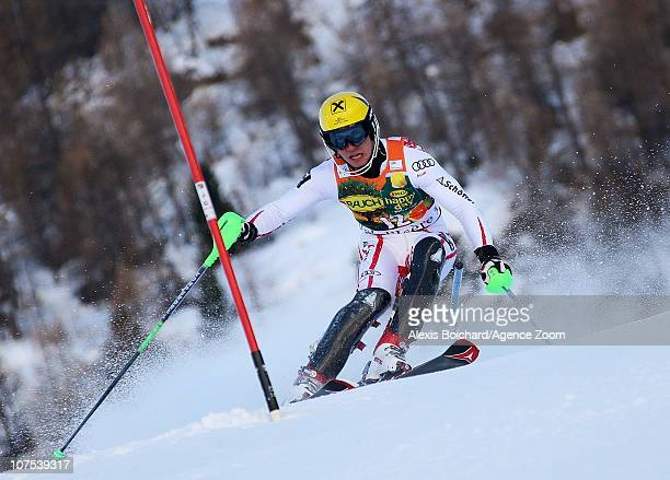 Marcel Hirscher of Austria takes 1st place during the Audi FIS Alpine Ski World Cup Men's Slalom December 12 2010 in Val d'Isere France