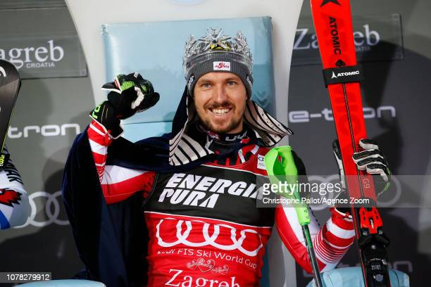 Marcel Hirscher of Austria takes 1st place during the Audi FIS Alpine Ski World Cup Men's Slalom on January 6 2019 in Zagreb Croatia