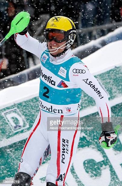 Marcel Hirscher of Austria takes 1st place during the Audi FIS Alpine Ski World Cup Men's Slalom on January 08 2012 in Adelboden Switzerland