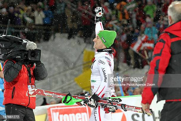Marcel Hirscher of Austria takes 1st place during the Audi FIS Alpine Ski World Cup Men's Slalom on January 24 2012 in Schladming Austria