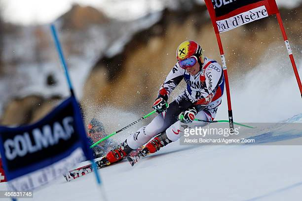 Marcel Hirscher of Austria takes 1st place during the Audi FIS Alpine Ski World Cup Men's Giant Slalom on December 14 2013 in Val d'Isere France