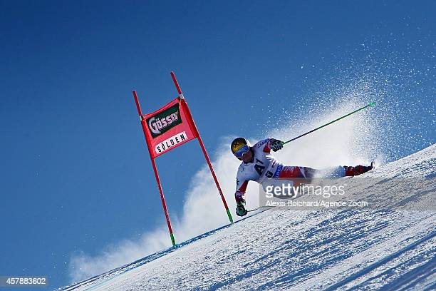 Marcel Hirscher of Austria takes 1st place during the Audi FIS Alpine Ski World Cup Men's Giant Slalom on October 26 2014 in Soelden Austria