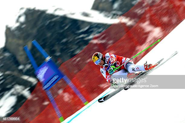 Marcel Hirscher of Austria takes 1st place during the Audi FIS Alpine Ski World Cup Men's Giant Slalom on January 10 2015 in Adelboden Switzerland