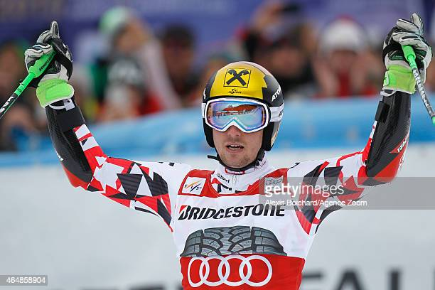 Marcel Hirscher of Austria takes 1st place during the Audi FIS Alpine Ski World Cup Men's Giant Slalom on March 01 2015 in GarmischPartenkirchen...