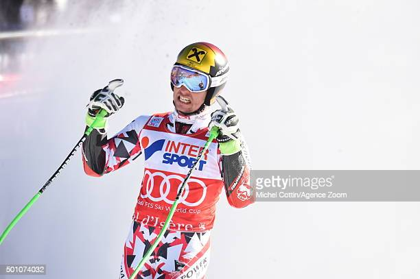 Marcel Hirscher of Austria takes 1st place during the Audi FIS Alpine Ski World Cup Men's Giant Slalom on December 12 2015 in Val dIsere France