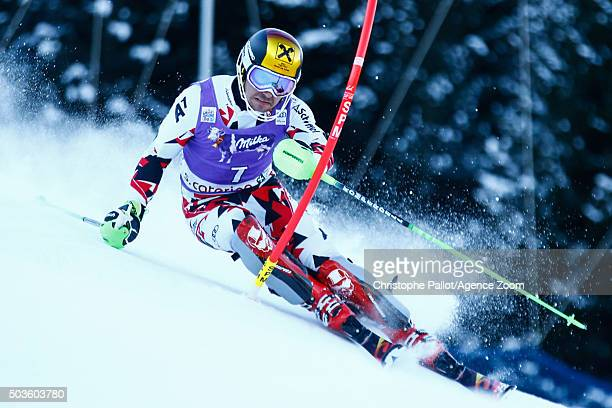 Marcel Hirscher of Austria takes 1st place during the Audi FIS Alpine Ski World Cup Men's Slalom on January 06 2016 in Santa Caterina Valfurva Italy