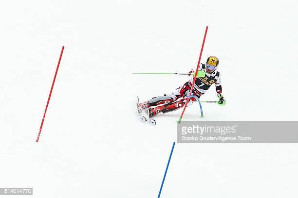 Marcel Hirscher of Austria takes 1st place during the Audi FIS Alpine Ski World Cup Men's Slalom on March 06 2016 in Kranjska Gora Slovenia
