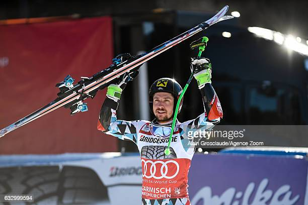 Marcel Hirscher of Austria takes 1st place during the Audi FIS Alpine Ski World Cup Men's Giant Slalom on January 29 2017 in GarmischPartenkirchen...