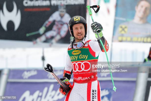 Marcel Hirscher of Austria takes 1st place during the Audi FIS Alpine Ski World Cup Men's Giant Slalom on March 04 2017 in Kranjska Gora Slovenia