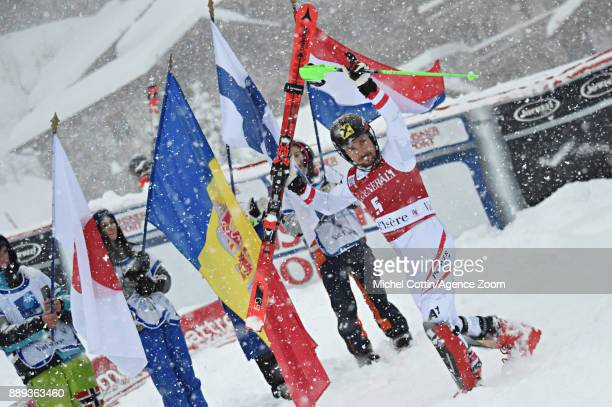 Marcel Hirscher of Austria takes 1st place during the Audi FIS Alpine Ski World Cup Men's Slalom on December 10 2017 in Vald'Isere France