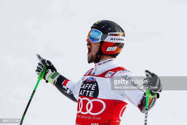 Marcel Hirscher of Austria takes 1st place during the Audi FIS Alpine Ski World Cup Men's Giant Slalom on December 17, 2017 in Alta Badia, Italy.