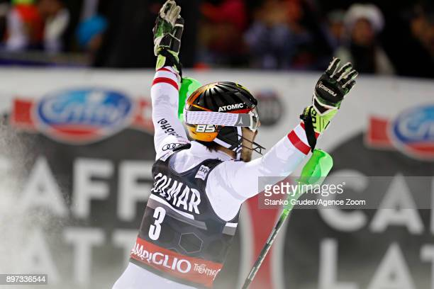 Marcel Hirscher of Austria takes 1st place during the Audi FIS Alpine Ski World Cup Men's Slalom on December 22 2017 in Madonna di Campiglio Italy