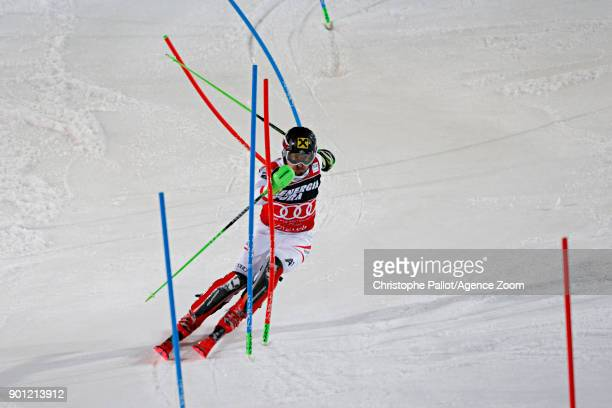 Marcel Hirscher of Austria takes 1st place during the Audi FIS Alpine Ski World Cup Men's Slalom on January 4 2018 in Zagreb Croatia