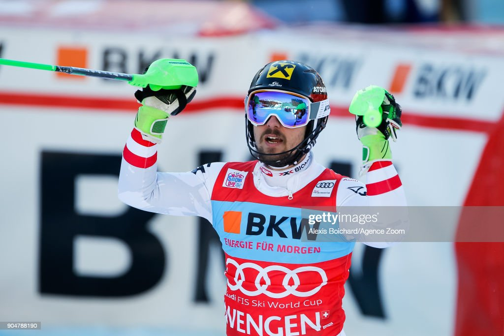 Marcel Hirscher of Austria takes 1st place during the Audi FIS Alpine Ski World Cup Men's Slalom on January 14, 2018 in Wengen, Switzerland.
