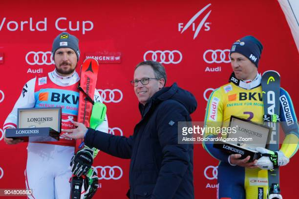 Marcel Hirscher of Austria takes 1st place during the Audi FIS Alpine Ski World Cup Men's Slalom on January 14 2018 in Wengen Switzerland
