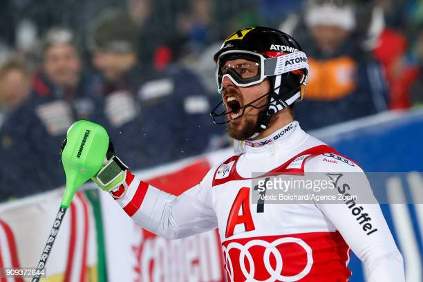 Marcel Hirscher of Austria takes 1st place during the Audi FIS Alpine Ski World Cup Men's Slalom on January 23 2018 in Schladming Austria