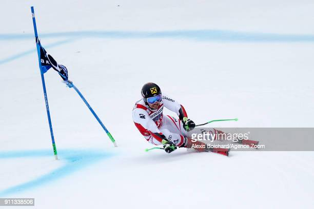 Marcel Hirscher of Austria takes 1st place during the Audi FIS Alpine Ski World Cup Men's Giant Slalom on January 28 2018 in GarmischPartenkirchen...