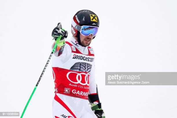 Marcel Hirscher of Austria takes 1st place during the Audi FIS Alpine Ski World Cup Men's Giant Slalom on January 28 2018 in GarmischPartenkirchen...