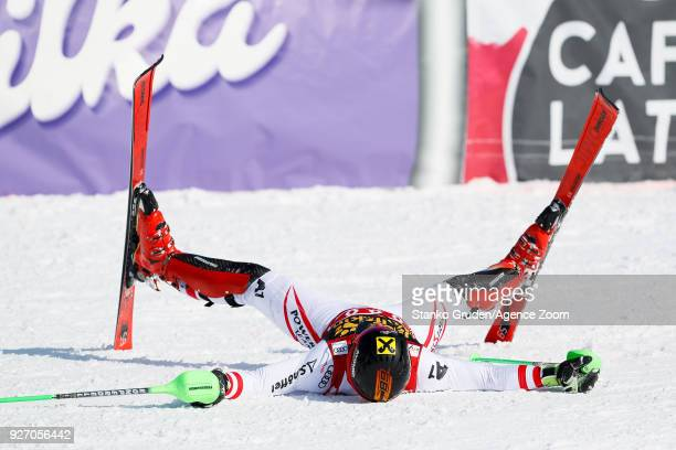 Marcel Hirscher of Austria takes 1st place during the Audi FIS Alpine Ski World Cup Men's Slalom on March 4 2018 in Kranjska Gora Slovenia