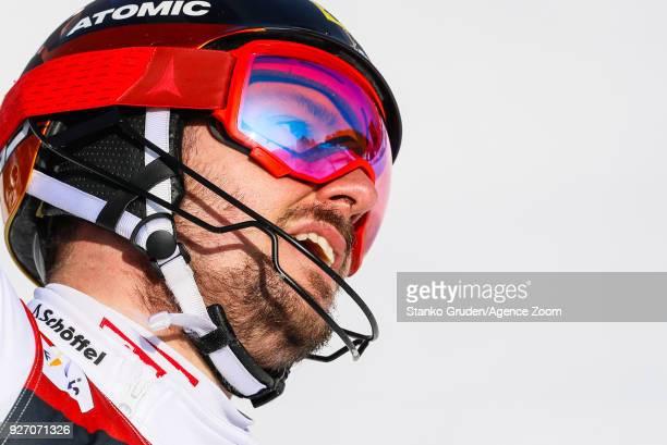 Marcel Hirscher of Austria takes 1st place during the Audi FIS Alpine Ski World Cup Men's Slalom on March 4 2018 in Kranjska Gora Slovenia