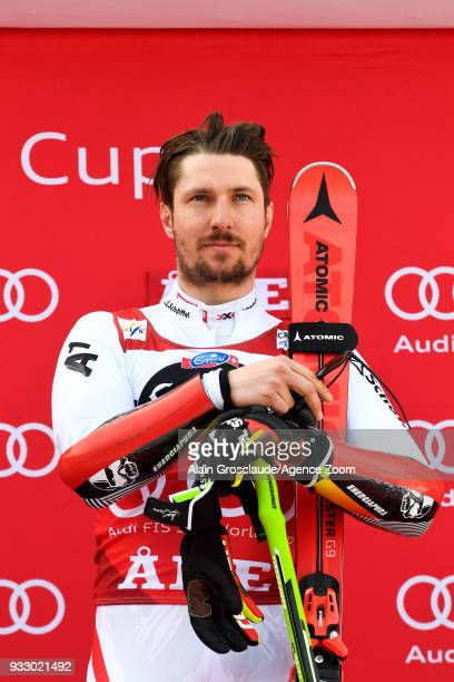Marcel Hirscher of Austria takes 1st place during the Audi FIS Alpine Ski World Cup Finals Men's Giant Slalom on March 17 2018 in Are Sweden