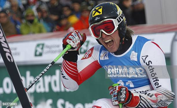 Marcel Hirscher of Austria takes 1st place during the Audi FIS Alpine Ski World Cup Men's Giant Slalom on December 13 2009 in Val d'Isere France