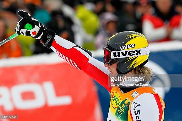 Marcel Hirscher of Austria takes 1st place during the Audi FIS Alpine Ski World Cup Men's Giant Slalom on January 30 2010 in Kranjska Gora Slovenia