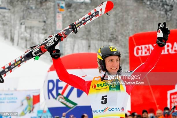 Marcel Hirscher of Austria takes 1st place during the Audi FIS Alpine Ski World Cup Men's Giant Slalom on January 30 2010 in Kranjska Gora Slovenia