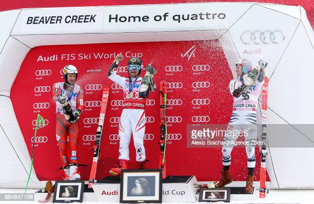 Marcel Hirscher of Austria takes 1st place Henrik Kristoffersen of Norway takes 2nd place Stefan Luitz of Germany takes 3rd place during the Audi FIS...