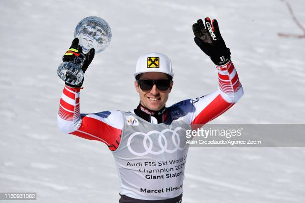Marcel Hirscher of Austria takes 1st place in the overall standings during the Audi FIS Alpine Ski World Cup Men's Giant Slalom on March 16 2019 in...