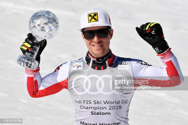 Marcel Hirscher of Austria takes 1st place in the overall standings during the Audi FIS Alpine Ski World Cup Men's Slalom on March 17, 2019 in Soldeu...