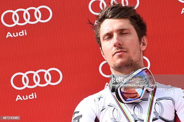 Marcel Hirscher of Austria takes 1st place in the race and wins the overall Slalom World Cup globe during the Audi FIS Alpine Ski World Cup Finals...