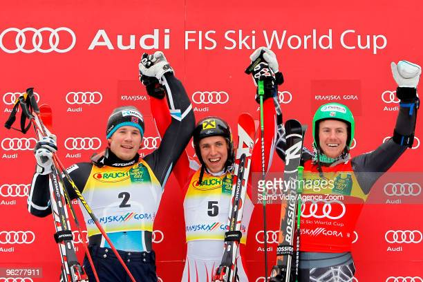 Marcel Hirscher of Austria takes 1st place Kjetil Jansrud of Norway takes 2nd place and Ted Ligety of USA takes 3rd place during the Audi FIS Alpine...