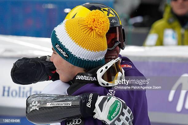 Marcel Hirscher of Austria takes 1st place Marcel Mathis of Austria takes 3rd place competes during the Audi FIS Alpine Ski World Cup Men's Giant...