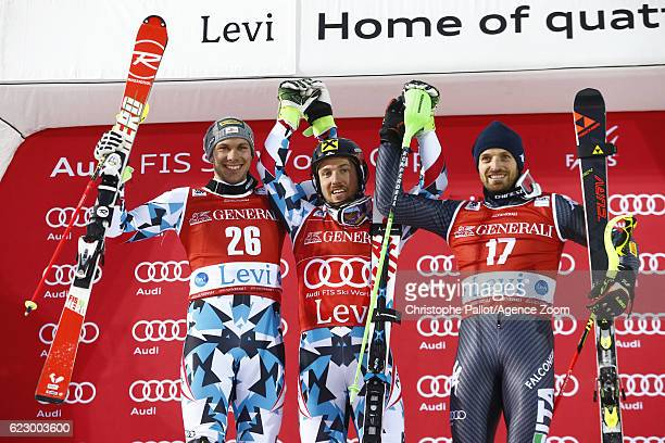 Marcel Hirscher of Austria takes 1st place Michael Matt of Austria takes 2nd place Manfred Moelgg of Italy takes 3rd place during the Audi FIS Alpine...