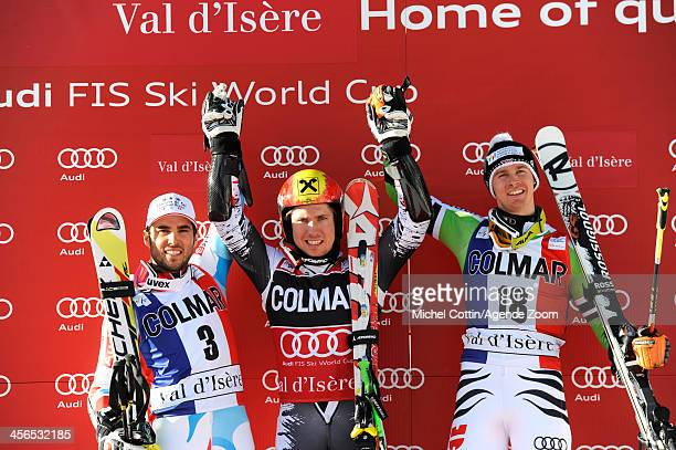Marcel Hirscher of Austria takes 1st place Thomas Fanara of France takes 2nd place Stefan Luitz of Germany takes 3rd place during the Audi FIS Alpine...