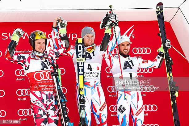 Marcel Hirscher of Austria takes 2nd place Alexis Pinturault of France takes 1st place and Thomas Fanara of France takes 3rd place during the Audi...