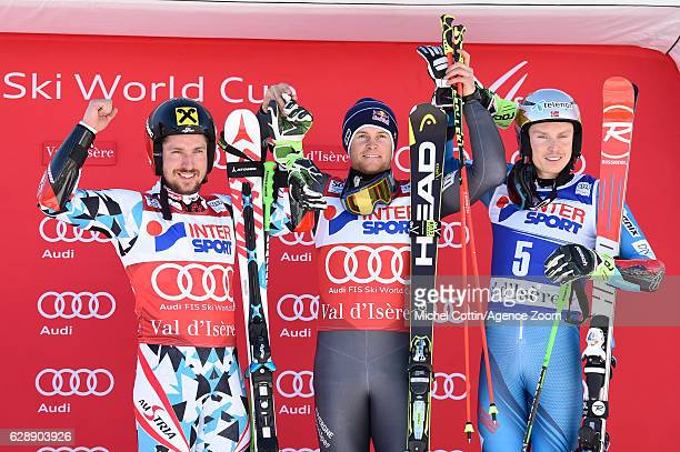 Marcel Hirscher of Austria takes 2nd place Alexis Pinturault of France takes 1st place Henrik Kristoffersen of Norway takes 3rd place during the Audi...
