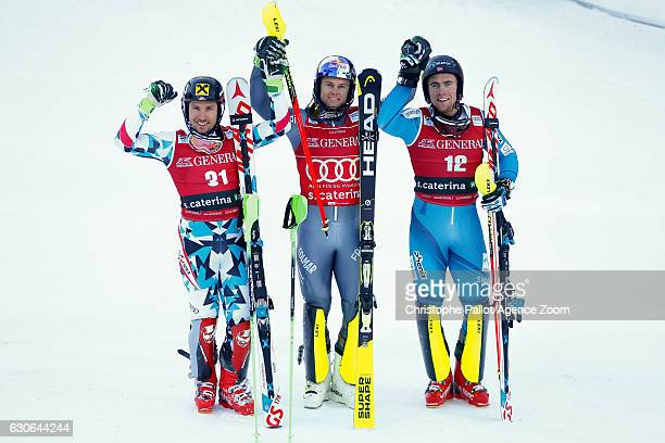 Marcel Hirscher of Austria takes 2nd place Alexis Pinturault of France takes 1st place Aleksander Aamodt Kilde of Norway takes 3rd place during the...