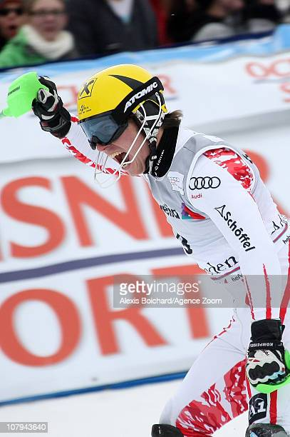 Marcel Hirscher of Austria takes 2nd place during the Audi FIS Alpine Ski World Cup Men's Slalom on January 09 2011 in Adelboden Switzerland