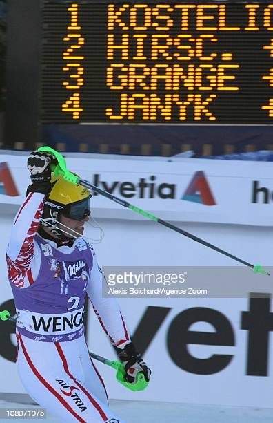 Marcel Hirscher of Austria takes 2nd place during the Audi FIS Alpine Ski World Cup Men's Slalom on January 16 2011 in Wengen Switzerland