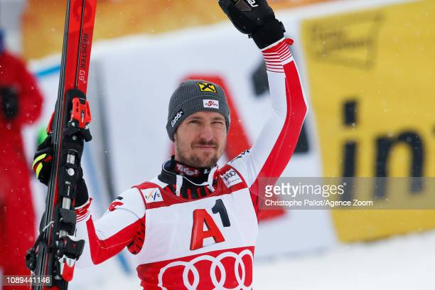 Marcel Hirscher of Austria takes 2nd place during the Audi FIS Alpine Ski World Cup Men's Slalom on January 26 2019 in Kitzbuehel Austria