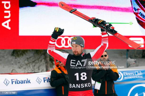 Marcel Hirscher of Austria takes 2nd place during the Audi FIS Alpine Ski World Cup Men's Alpine Combined on February 22 2019 in Bansko Bulgaria