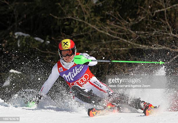 Marcel Hirscher of Austria takes 2nd place during the Audi FIS Alpine Ski World Cup Men's Slalom on January 20 2013 in Wengen Switzerland